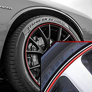 Upgrade Your Auto Wheel Bands Red in Black Pinstripe Rim Edge Trim for Dodge Challenger