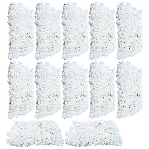 12 paredes de flores artificiales, color blanco, pared de rosas, Futchoy, DIY, para bodas, calle, fondo de 40 x 60 cm, decoración para el hogar