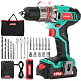 Cordless Drill Driver 20V, HYCHIKA Power Drill Set 330 In-lb Torque with 1500mAh Li-Ion Battery, 1H Fast Charging, 21+1 Clutch, 2 Variable Speed & Built-in LED for Drilling Wood, Metal and Plastic