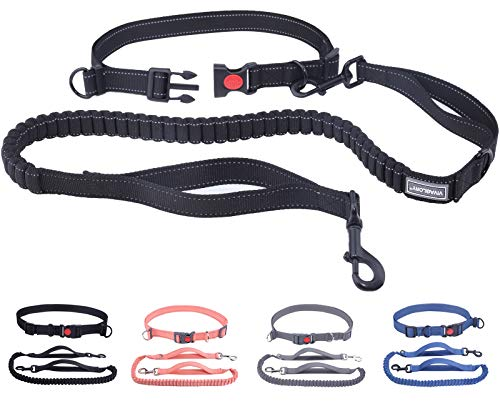 VIVAGLORY Hands Free Dog Leash with Wavelength Bungee for Small Medium and Large Dogs, Dual Handles Reflective Waist Leash for Training Running Walking Fits Waist from 25½ to 44 inch, Black