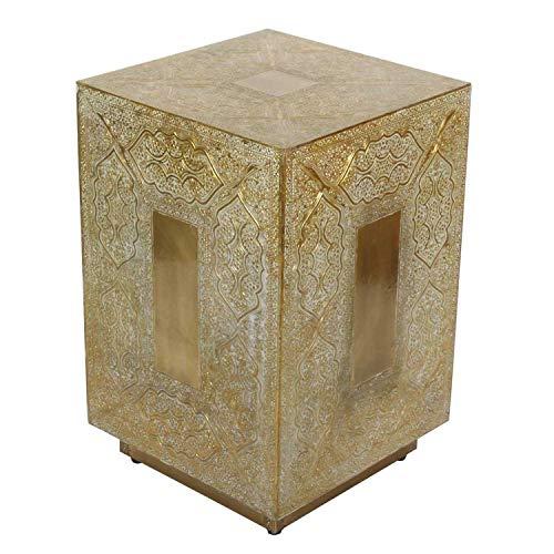 Casa Moro Marokkanischer Hocker Dakhla 30x30x47 (B/T/H) Gold-Weiß aus Echt-Holz | Orientalischer Beistelltisch komplett mit Messing Verkleidet im Vintage Look | Kunsthandwerk aus Marrakesch | HK3038