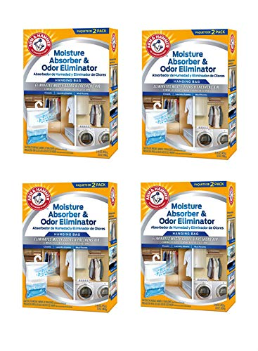 Arm & Hammer Moisture Absorber & Odor Eliminator 16oz Hanging Bag, 4 Pack (8 Bags Total) Eliminates Musty Odors & Freshens Air for Closets, Laundry Rooms, Mud Rooms