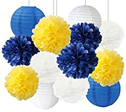 Baby Shower Decorations. Yellow and Blue pom poms and lanterns.