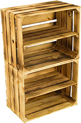 flambierte/geflammte Massive Obstkisten als Regal oder als Klassische Kiste ca 49 x 42 x 31 cm/Apfelkisten Weinkisten aus dem Alten Land (2 Stück geflammte mit Einlage)