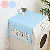 Zuzer 2pcs Funda de Lavadora Impermeable Cubierta de Polvo Superior del Refrigerador Protector(Rosa + Azul)