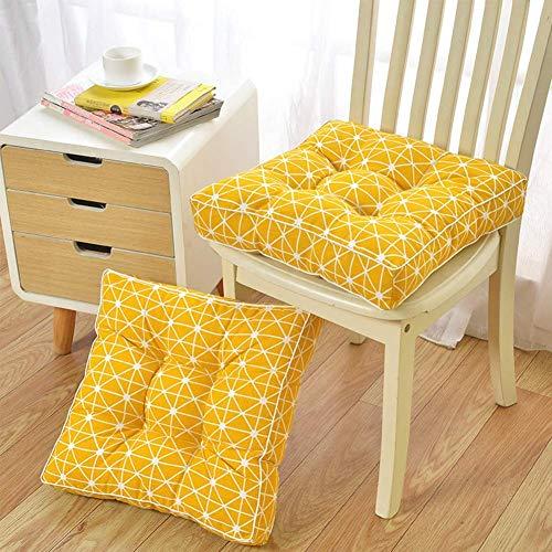Cojín de asiento acolchado cuadrado, espesos de silla de oficina Cojines para exteriores Piso al aire libre Tatami Muebles Muebles transpirables sobre asiento almohadillas-amarillo 50x50cm (20x20in) *