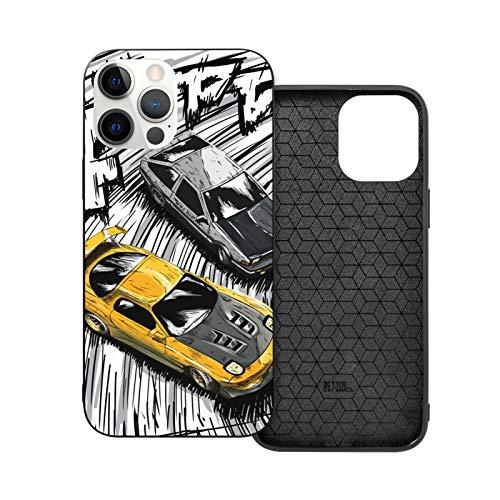 NGNHMFD Initial D Style Artwork, Rx7 Vs Ae86 Compatible con iPhone 11 Pro Max 12 Pro Max Mini SE 2020 6/6s 7/8 Plus X XS XR Carcasa Negro Teléfono Carcasa
