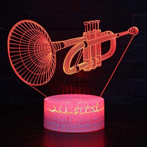 3D Illusie Gift Nacht Licht Nachtlampje Tafellamp-Muzikaal Instrument Trompet-7 Kleur Automatische Verandering Touch Schakelaar Bureau Decoratie Licht Verjaardagscadeau, Acryl Flat ABS Base USB-kabel