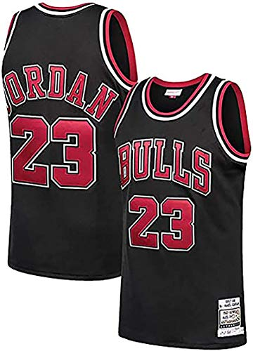 Men's #23 Jordans Jersey-Retro Polyester Mesh Sports Shirt S-XXL White/Black/Red S Black