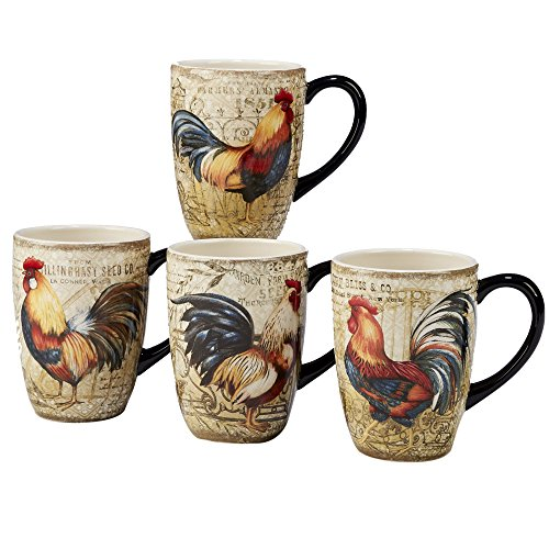 Certified International Gilded Rooster Set/4 Mug 20 oz., Assorted Designs,One Size, Multicolored