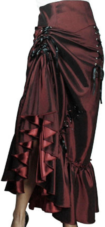 (XSP28) Steampunk Ball  Burgundy Victorian Sateen Corset Vintage Style Skirt