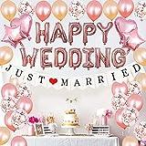 SHLMO Globo de boda feliz decoración de boda Set 16 pulgadas feliz boda rosa oro carta globos
