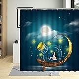 Espacio Nunca Sky Ducha Cortina NiñO Dibujos Animados Astronauta Planeta Luna BañO BañO Hogar con Gancho PañO Decorativo Lavable-W180xH200cm