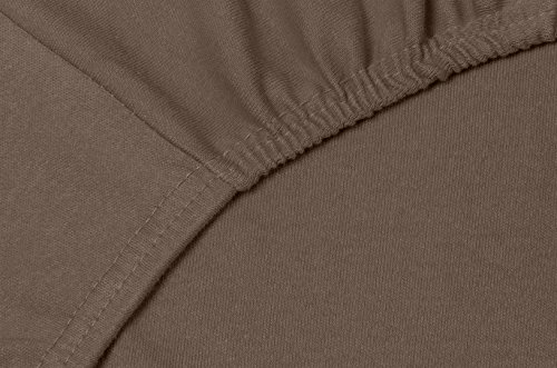 #25 Double Jersey Jersey Spannbettlaken, Spannbetttuch, Bettlaken, 160x200x30 cm, Mocca - 5
