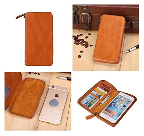 DFVmobile - Executive Wallet Case with Magnetic Fixation and Zipper Closure for BQ AQUARIS E5 HD Ubuntu Edition - Brown