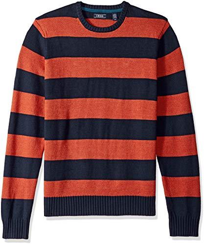 IZOD Men's Newport Stripe 7 Gauge Crewneck Sweater, Rugby Ketchup, Large