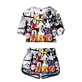 WWZY Mujer Camisetas y Pantalones 3D Patrón Impreso Anime Naruto Uzumaki Naruto y Uchiha Sasuke Cuello Redondo Verano Casual Manga Corta T-Shirt Manga Corta Shorts Set,Blanco,L