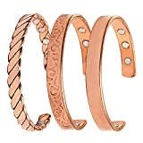 Copper Magnetic Bracelet for Men Women with 6 Powerful Magnets, Magnetic Therapy Bracelets for Arthritis Pain Relief, Carpal Tunnel, Migraines Pack of 3 (Plain, Engraved Cuff & Braided Style)