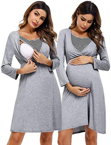 Akalnny Stillnachthemd Damen Geburt Nachthemd Baumwolle mit Stillfunktion Mutterschaft Schwangerschaft Schlafanzug für Schwangere