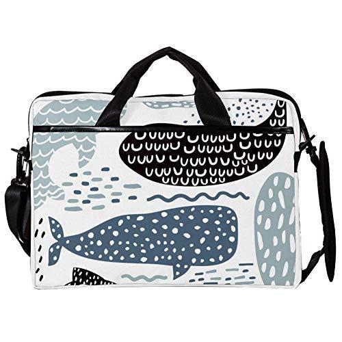 Fish Whale Laptop Case Shoulder Bag for Notebook Computer Tablet with Adjustable Shoulder Strap Canvas Messenger Carrying Briefcase Handbag Sleeve for Woman,Man 15x11x1inch