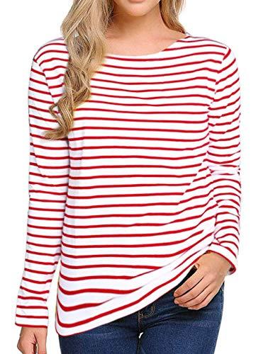 Women Striped Long Sleeve T Shirt Slim Fit in Black/White Shirt Blouses for Girls