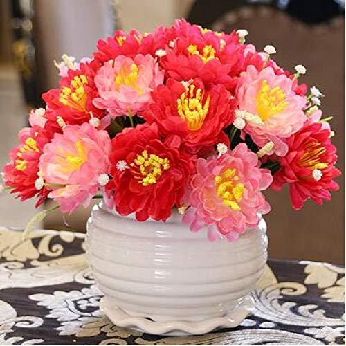 Vase Moderne Keramikvase + Künstliches Blumenset Figur Home Decoration Crafts Livingroon Desktop Rose Gefälschte Blumentopf Vase Ornament Stil16