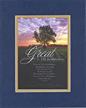 Great is Thy Faithfulness 8 x 10 Inches Biblical/Religious Verses Set in Double Beveled Matting (Blue On Gold) - A Timeless and Priceless Poetry Keepsake Collection