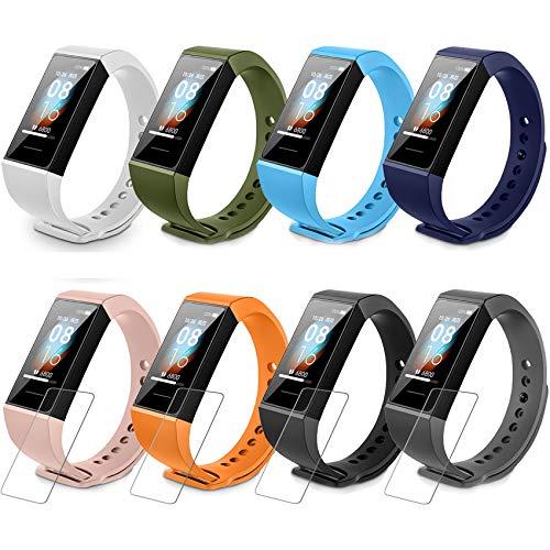 Milomdoi [12 Einheits] 8 Farbenreich Armband + 4Stücks Schutzfolie für Xiaomi Mi Band 4C, Sport Ersatzband Uhrenarmband Kompatibel Silikon verstellbaren Soft Armbänder Kompatibel-(8 Farbenreich)