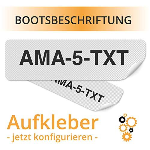 Bootsbeschriftung - Boots Aufkleber Beschriftung für Boote Aufkleber mit Bootosnummer Wunschtext konfigurieren