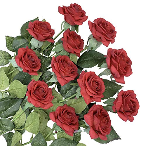 ZGPEPEXIA 12 Stems Artificial Flowers Silk Roses Fake Flowers Bridal Wedding Bouquet,Realistic Blossom Flora for Home Garden Party Hotel Office Decoration (Dark Red)