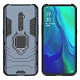 YEESOON Case for Oppo Reno 10x Zoom, Dual Layer Hybrid Shockproof Protective Case with Ring Stand & Magnetic Car Mount Function Back Cover for Oppo Reno 10x Zoom - Navy Blue