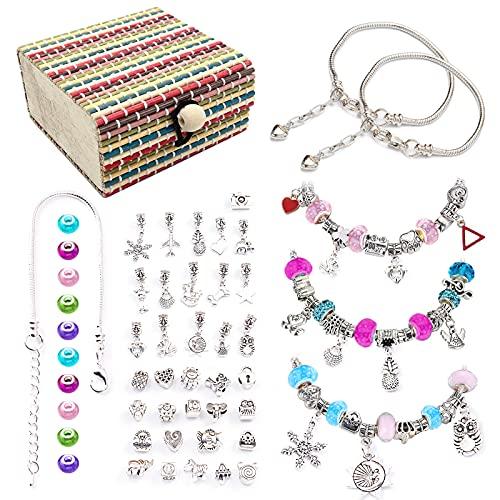 Geoyien Kit de fabricación de pulseras, 48 piezas kit de pulseras de dijes perlas de agujero cadena para hacer pulseras cuentas espaciadoras diamantes de imitación cuentas colgantes con caja colorida