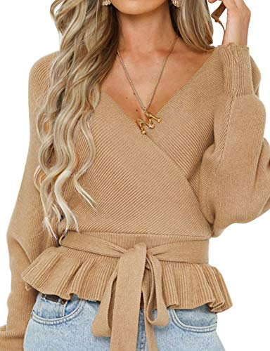 Women's Wrap V Neck Belted Waist Ruffle Knitted Sweater