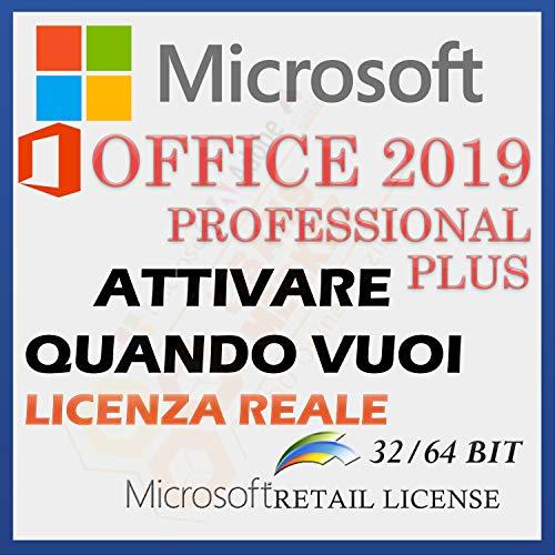 MS Office 2019 Professional PLUS, Licenza Di Vendita Al Dettaglio | Licenza Per Tutta La Vita | Attivazione Il Numero Di Licenza Vi Sarà Inviato Tramite Messaggio Amazon Tra 0-10 Ore