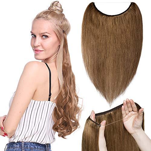 TESS Extensions Echthaar Haarteile günstig 1 Tresse Remy Haarverlängerung mit Draht Haarverdichtung Glatt 16