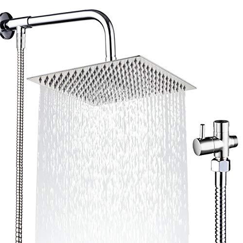 Drenky Set soffione doccia a pioggia Vieni con soffione doccia quadrato da 12 '' Braccio doccia a parete lunghezza 50 cm, Flessibile doccia 1.5 m E valvola deviatrice a 3 vie Acciaio inossidabile 304