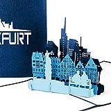 """Pop Up Karte """"Frankfurt am Main - Skyline mit Altstadt & Dom in 3D"""" - Souvenir, Einladungskarte & Geburtstagskarte als kleines Geschenk, Dekoration, Geschenkverpackung & Reisegutschein Frankfurt a.M."""