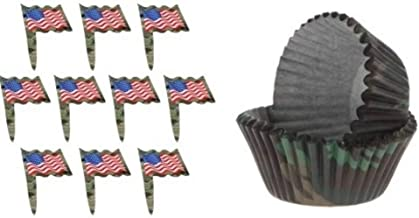 24 Camo Flag Cupcake Toppers and 50 Camouflage Baking Cups Bundle | Deployment Welcome Home Retirement Promotion PCS Patriotic Party Supplies for Military Veterans Soldiers Marines