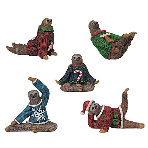 Yoga Sloth Figurines in Ugly Christmas Sweaters