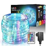 ECOWHO - Tubo luminoso per esterni, 15 m, 150 LED, 17 colori, 4 modalità con telecomando e timer, impermeabile IP65, alimentazione elettrica, per Natale, Halloween, decorazione (colorato)