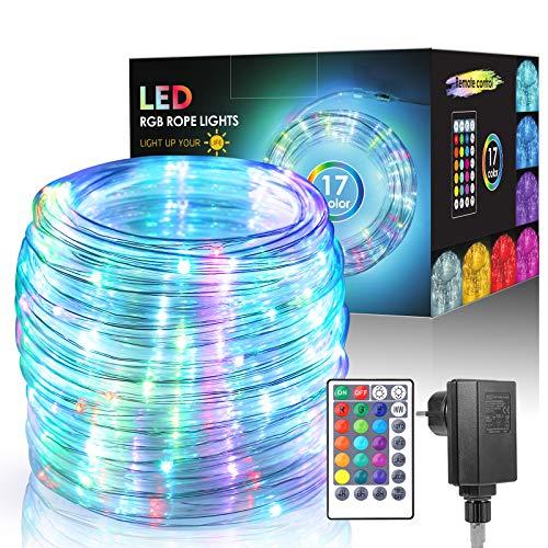 ECOWHO 15M RGB Lichtschlauch Außen,150 LEDs Lichterschlauch 17 Farben 4 Modi mit Fernbedienung & Timer, IP65 Wasserdicht Lichterkette, Strombetrieben Schlauch für Weihnachten Halloween Deko (Bunt)