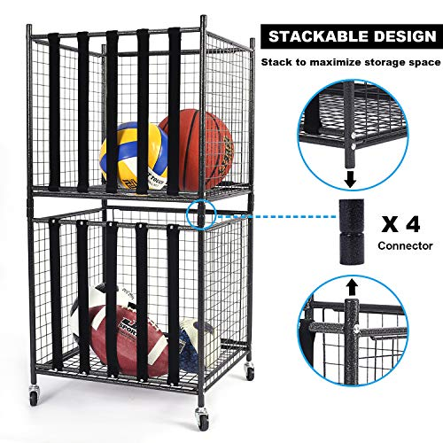 Mythinglogic Rolling Sports Ball Storage Cart, Sports Lockable Ball Storage Locker with Elastic Straps, Stackable Ball Cage for Garage Storage Garage Organizer (1 Set)