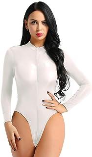 Agoky Women s Sheer See Through Zipper Crotch Bodysuits Long Sleeve High  Cut Thong Leotard 9235d8a03