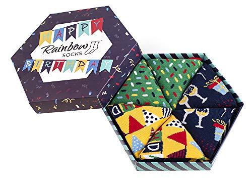 Rainbow Socks - Damen Herren Lustige Geburtstag Socken Box Geschenk- 3 Paar - Girlanden Luftballons Kuchen - Größen 41-46