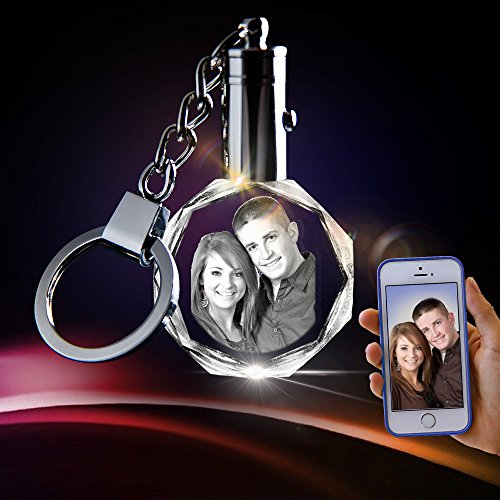 Crystal Keychain Photo - Lighted Custom Crystal Picture Etched Key chain, Round