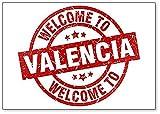 Imán para nevera con ilustración de sello rojo de bienvenida a Valencia