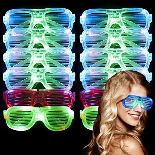 12 LED Partybrillen, Sonnenbrille Leuchtspielzeug, Leuchten Brille  3 Blinkmodi, 4 Farben, Ein/Aus-Taste  Kindergeburtstag Mitgebsel Mitbringsel Gastgeschenke Neon Disko Rave Halloween Weihnachten.