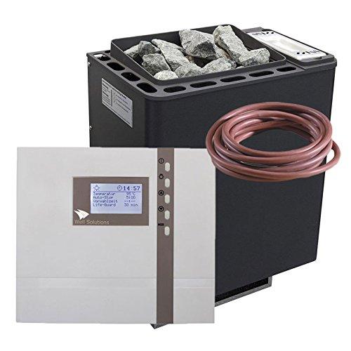 Well Solutions ® Saunaofen Set Bi-O Thermat 9 kW by EOS Saunasteuerung Econ H4 Bi-o Combi Feuchte Sauna