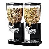 Dispensador de plástico para alimentos secos, de Guilty Gadgets, doble, clásico, hermético, mantiene los alimentos frescos, para cereales, negro