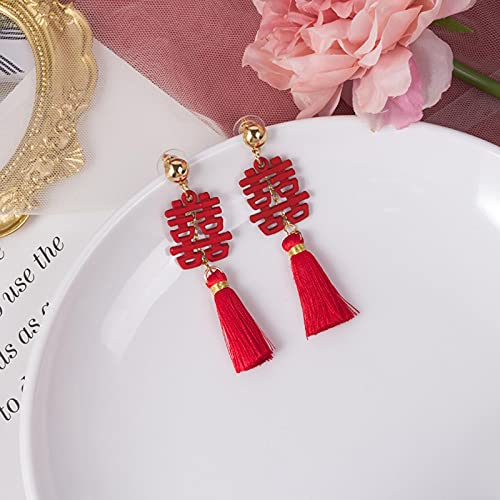 allforyou Pendientes Nupciales Rojos Festivos Asimétricos Nudo Chino Linterna Tassel Año Nuevo Pendiente Pendientes de Moda Joyería